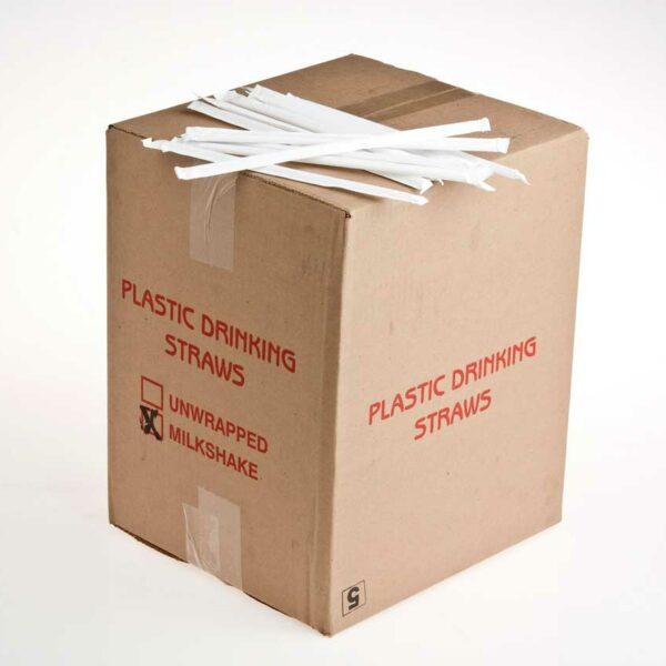 BOX(+/-1700) WRAPPED MILKSHAKE STRAWS RED PRINTED BOX