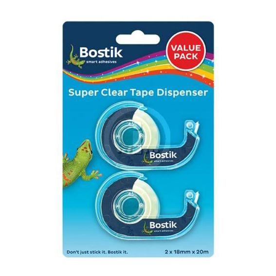 2PC BOSTIK SUPER CLEAR TAPE + DISPENSER 2x18x20m