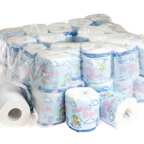 BALE (40) TOILET ROLLS WRAPPED 500sheets 1PLY CUDDLE SOFT