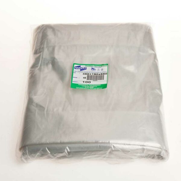 (100) POLYBAGS 390+200x850x45m (500 sheets)48's t/rolls
